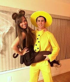 DIY Couples Halloween Costume Ideas - Curious George and The Man in the Yellow Hat - Cute Couple Halloween Costume Idea via Society 19