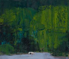 "Saatchi Art Artist: Grażyna Smalej; Oil 2014 Painting ""Pierre Huyghe's dog """