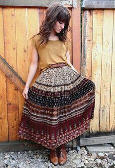 How to Wear Boho Style Long Skirt Trendy Ideas – Designers Outfits Collection Estilo Boho, Look Boho, Bohemian Style, Boho Chic, Bohemian Fall Outfits, Gypsy Outfits, Bohemian Fall Fashion, Boho Work Outfit, Earthy Fashion