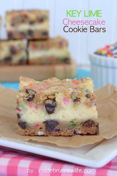 Key Lime Cheesecake Cookie Bars - chocolate chip cookie bars with a key lime cheesecake center