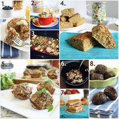 8 great workout foods for Livefit trainer by Runningtothekitchen - perfect protein pancakes, healthy peanut butter cookie dough dip, how to prep batches of veggies to have on hand, high protein cinnamon cake bars, turkey quinoa muffins, cottage cheese with grapes and cinnamon and vanilla, strawberry filled coconut powercakes, no bake brownie fudge bites