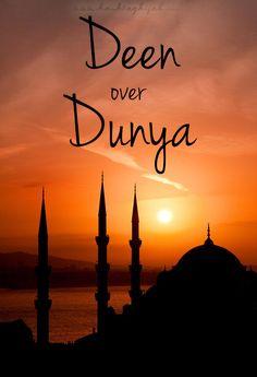 "Islamic Daily: Deen Over Dunya | Hashtag Hijab © www.hashtaghijab.com   ""Religion over world."""