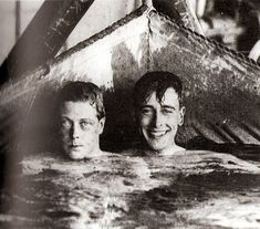 Edward Prince of Wales and his cousin Lord Louis Mountbatten relax in a canvas swimming pool on board H. M. S. Renown. Photo from the 1920s.