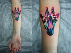 Geometric Giraffe tattoo-Love the coloring, but instead of the giraffe, have an outline of Seth's hand