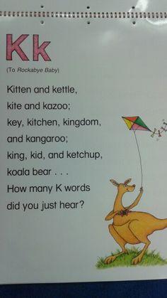 K Alliteration Poem - Maria Phonemic Awareness Activities, Rhyming Activities, Preschool Songs, Preschool Letters, Alphabet Poem, Letter Song, Learning The Alphabet, Kindergarten Spelling Words, Bilingual Kindergarten