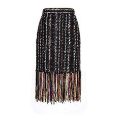 MSGM Pearl-embellished fringed-tweed skirt ($612) ❤ liked on Polyvore featuring skirts, black multi, fringe skirt, black evening skirt, knee length pencil skirt, tweed pencil skirt and embellished skirt