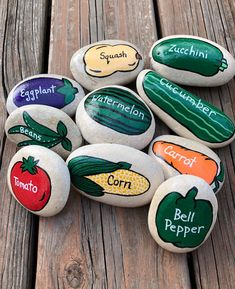 great names These make great birthday party favors! Do you need a special gift for Garden Club members? Does your child have an interest in gardening? These pretty and bright story stones Garden Club, Herb Garden, Garden Art, Garden Ideas, Story Stones, Design Jardin, Vegetable Garden Design, Vegetable Gardening, Container Gardening