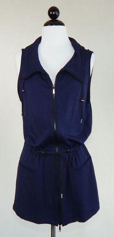 LAFAYETTE 148 Navy Blue Sleeveless Zip Front Soft Knit Vest Jacket Coat Size L #Lafayette148NewYork #Vest #Casual