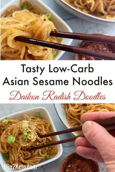 Make these low-carb sesame noodles with a daikon radish for an easy keto recipe take on Chinese food that your entire family is going to love! Diakon Radish Recipe, Daikon Recipe, Asian Recipes, Keto Recipes, Healthy Recipes, Zoodle Recipes, Ketogenic Recipes, Low Carb Noodles, Sesame Noodles
