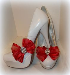 Shoe Clips  Red Chiffon Bows set of 2 womens shoe by ShoeClipsOnly, $26.00