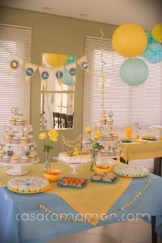 """you are my sunshine"" party table layout"