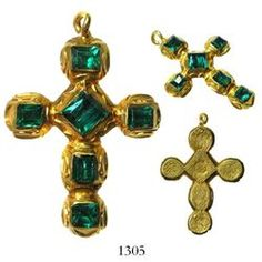 Emerald and gold cruciform pendant, recovered from the Spanish 1715 Fleet, east coast of Florida in 1988.