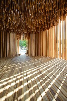 Wooden pavilion - Mori, Aaron Koblin, Julio Le Parc and other artists. Temporary installation in France.