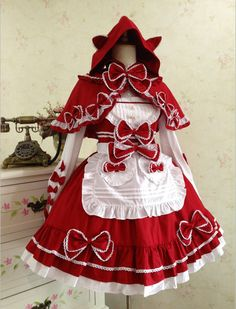 Lolita Dress Little Red Riding Hood Cape Women Dress Cat Ears Maid Apron Dress Set-inDresses from Women's Clothing & Accessories on Aliexpress.com   Alibaba Group