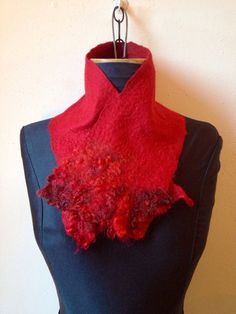 Felted Collar Red  Neck warmer Merino /// Shop for Valentine's Day at our TAFA Market: http://www.tafaforum.com/market/holidays/ /// Atelier Iona Loyola Textiles