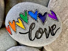 love's melody / painted rocks /painted stones / words on stone / paperweights / love wins / rainbow hearts / rock art / valentines / love