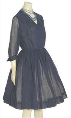 Authentic Vintage 1950s Fashion by NeldasVintageClothing.com A Navy Blue 50s Cotton Dress   $95.00