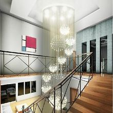 Moderna sala de estar 11 cristal de la lámpara luces LED colgantes de alambre de diámetro 80xH300cm piso por escalera ático salón cristal de la lámpara(China (Mainland))