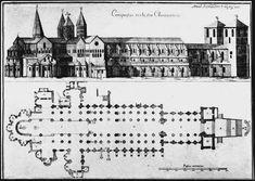 Cluny III z XI/XII wieku, owoc starań opata Hugona; słynny plan z obejściem i promienistym wieńcem kaplic  (łączący w sobie tak naprawdę w/w plan z planem schodkowym)
