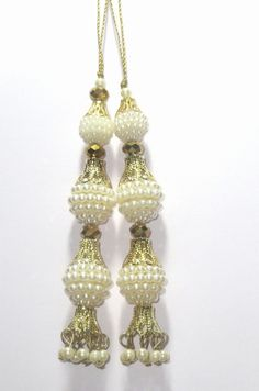 White pearl Handcrafted ethnic Glass Bead Tassel / Embellishment / Decoration / Saari Tassels / Curtain Tassels  Latkan Supply 1 pair India by CRAFTYJAIPUR on Etsy