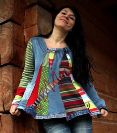 Crazy fantasy recycled sweater and jeans hippie boho by jamfashion, $86.00