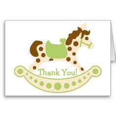 Green Rocking Horse Birthday Thank You Cards