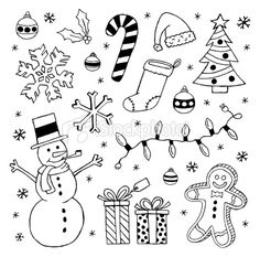 Christmas Doodles Royalty Free Stock Vector Art Illustration