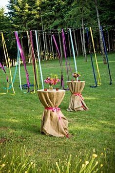 Beautiful Ribbon Streamers Make for Colorful Outdoor #Decor I Champagne Wedding Coordination I #receptiondecor #weddingdecor