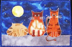 Quilted Post Card  Cat Gossip by SonoranExpressions