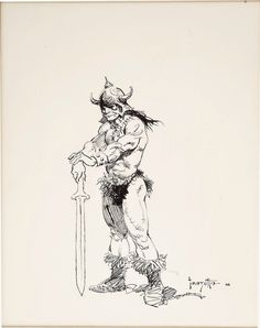 Conan Sketch by Frank Frazetta