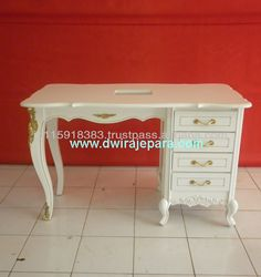 White Baroque Furniture Nail Table 4 Drawers