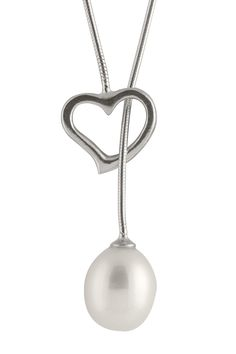 8.5-9mm White Freshwater Pearl & Heart Lariat Necklace