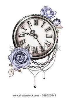 Image result for pocket watch watercolor