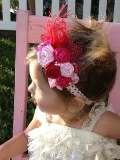 Sweet Red n Pinks Rosettes Feather Headband  #Vintage Unique Hair Headbands, #baby girls rosette headbands, #hair bows, #hair accessories #timelesstreasure