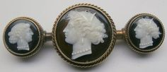 circa 1880 Victorian 14k Yellow Gold three-Hard Stone Cameo Bar
