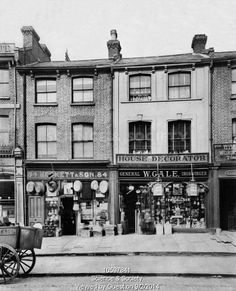 Mr Gale, ironmonger and decorator and Mr Heckett, hardware. Junction Road, Holloway, 1903