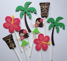 Set Of 12 LUAU ASSORTMENT Cupcake Toppers,Hula Girl,Beach Ball,Mermaid,Surfboard,Palmtree,Flower,Dolphin,Sea Turtle,Flamingo on Etsy, $11.99