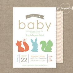 Woodland creatures baby shower invitation digital illustrations i woodland baby shower invitation simple baby shower invitaiton woodland animal theme baby filmwisefo