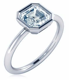 Bezellia 2.5 Carat Asscher Cut Cubic Zirconia Bezel Set Solitaire Engagement Ring available in 14k gold, 18k gold and platinum by Ziamond. #ziamond #cubiczirconia #engagement #ring #bezel #asscher #solitaire Cubic Zirconia Engagement Rings, Silver Wings, Diamond Simulant, Lab Created Diamonds, Wedding Rings, Wedding Stuff, Fashion Rings, Gold Jewelry, 18k Gold