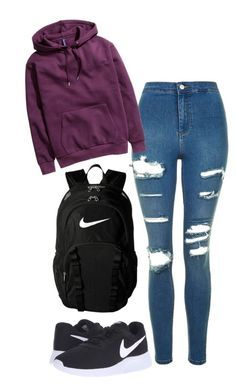 """""""outfits for school"""" by christine725 on Polyvore featuring Topshop, H&M and NIKE"""