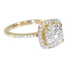 8mm Charles and Colvard Forever Brilliant Cushion Moissanite 14K Yellow Gold Halo Diamond Micro Pave Ring 2.7 Carat Total Weight - Fire & Brilliance ® Creative Designs - Fire & Brilliance ® - 1