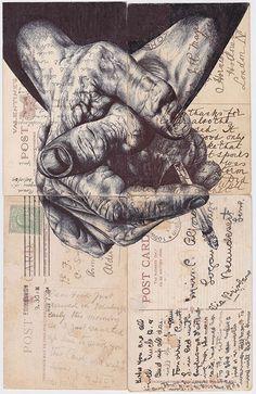 Sketchbook Drawing 'night shift' Bic biro drawing on four antique postcard on Behance - Biro Drawing, Observational Drawing, Biro Art, Ap Studio Art, Arte Gcse, Portfolio D'art, Hand Kunst, Gcse Art Sketchbook, Sketchbooks