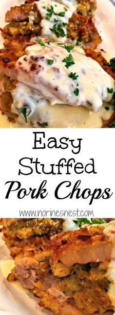Plump juicy Pork Chops are filled with stuffing and smothered in an easy creamy gravy! This recipe is SO easy and SO delicious! Cant wait to make it again!