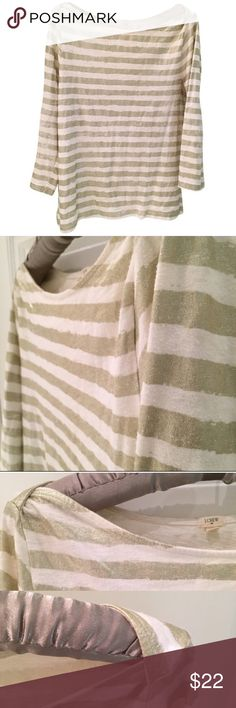"""J.Crew Gold Shimmer Stripe Folded Long Sleeve Tee 🎁Offers encouraged & flexible                                                                                🔑Bundle to save                                                                                                   👍Like for price drop notifications                                     EUC, no stains spots or loose threads. Shimmer gold and cream stripes. Fold detail at shoulders. Top to hem~ 22"""", neckline to front hem~ 21"""", sleeve…"""