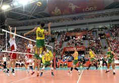 Brazil's Ricardo Lucarelli Santos De Souza spikes the ball.