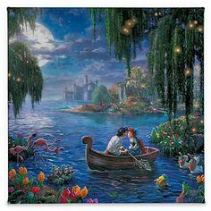 Thomas Kinkade Disney, Thomas Kinkade Art, Kinkade Paintings, Oil Paintings, Thomas Kincaid, Little Mermaid 2, Little Mermaid Wallpaper, Mermaid Artwork, Disney Fine Art