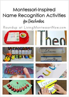 Roundup of circle-time name activities for getting acquainted and Montessori-inspired name recognition activities for preschoolers. Preschool Name Recognition, Preschool Names, Name Activities, Preschool Literacy, Montessori Activities, Toddler Activities, Preschool Ideas, Montessori Education, Kindergarten Names