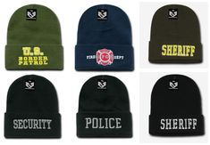 bb854901541 US Border Patrol Security Fire Dept Police Sheriff Cuffed Beanie Knit Cap  Hat  RapidDominance