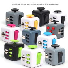 Wholesale 40pcs/lot Mini Fidget Cube Vinyl Desk Toy Keychain Squeeze Fun Antistress Cubo Stress Reliever Toys With Box #Affiliate