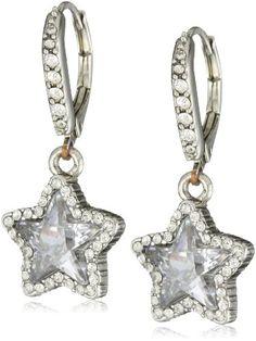 "Betsey Johnson ""Iconic Celestial"" Crystal Star Drop Earrings"
